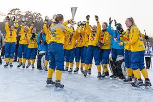 Sverige fick lyfta VM-bucklan i Kina efter uddamålsvinst i finalen mot Ryssland. FOTO: Bildbyrån