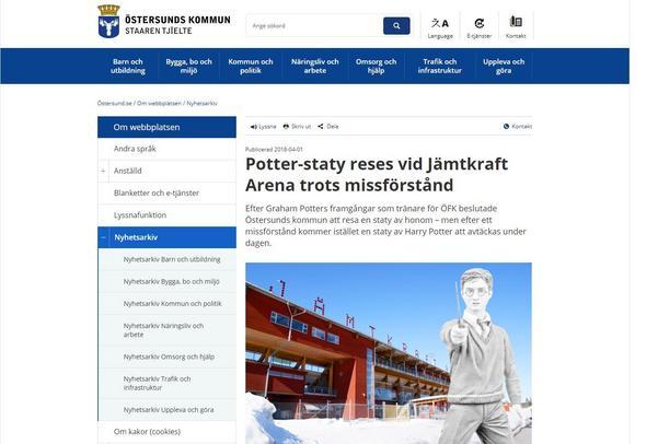 OBS! Fotomontage, statyn var inte uppställd då artikeln skrevs, berättar Östersunds kommun på sin hemsida.