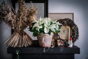 Vita julstjärnor i en terrakottakruka och en sädeskärve ger ett lugnt intryck. En svart spegel bryter av mot det vita, vilket ger en dovare ton och mer spänning till bilden. En enkel krans görs av grenar som lindas runt varandra. Foto: Åsa Myrberg