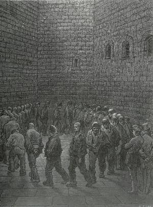 Gustave Dores skildring av New Gate-fängelsets rastgård från 1872.