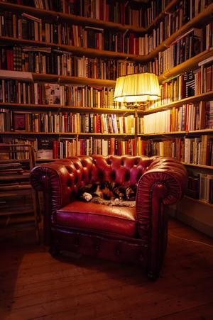 Biblioteket är ett favoritrum i bostaden.