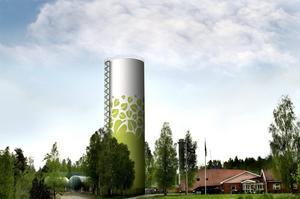 Höjdare. Så här kommer det att se ut vid Linde Energis kontor och anläggning vid Siggebohyttevägen. Ackumulatortanken ska vara färdigbyggd i början av nästa år.         FOTOMONTAGE: Linde Energi AB.