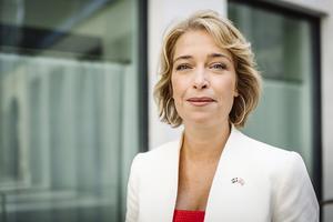 Socialförsäkringsminister Annika Strandhäll (S) vid en pressträff med regeringen, i början av augusti. Foto: Erik Simander / TT.