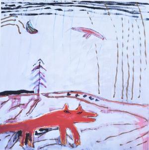 Målning av Camilla Pyk. Hunddjur och fåglar är återkommande motiv i hennes konst.