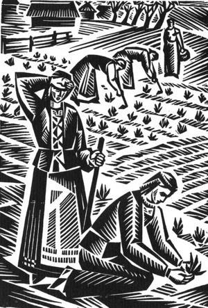 Litauiska bönder i arbete.  Illustration av V. Kalinauskas ur Kristijonas Donelaitis