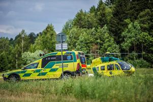 En man skadades i en arbetsplatsolycka i Horndal utanför Avesta under torsdagen.Foto: Niklas Hagman