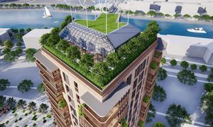Vinterträdgård, odlingsmöjligheter och ytor för umgänge, och ett antal energieffektiva vindsnurror. Jason Pomeroy vill skapa en grön, lugn oas för de boende på taket.  Illustration: Pomeroy Studios