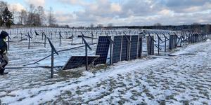 Förödelsen efter stormen Alfrida vid solcellsparken den 2 januari 2019. Foto: Privat