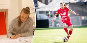 Under torsdagsmorgonen signerade Abrahamsson sitt nya ettårsavtal med Kif Örebro. Foto: Billy Hammer och Kicki Nilsson/TT