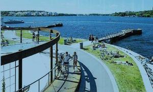 En framtidsvision av hur en strandpromenad i Säter skulle kunna se ut.Illustration: Aedis arkitekter