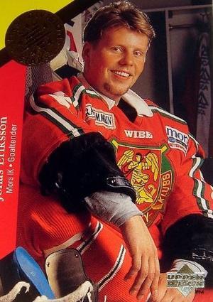 Gammal hockeykortsbild på Jonas Eriksson – som för övrigt är den enda bilden som gick att hitta på målvakten som gjorde sex säsonger för Mora IK. Foto: Center Ice Collectibles