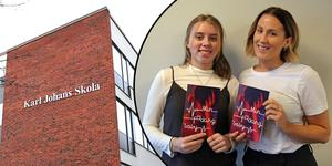 Svenskaläraren Lovisa Viktorin, till höger, är stolt över elevernas arbete. – Vi i klass 9A har tillsammans publicerat en bok om kärlek, säger Elsa Lagerlund Begman, elev på Karl Johans Skola.