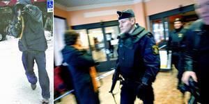 Bilden till vänster togs av Valter Törnberg och ingick i bevisningen mot bankrånarna. Bild: Valter Törnberg/Arkiv