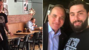 Stefan Löfven och Bra Hak Burgers restaurangchef Nader Mahallatian. Bild: Privat