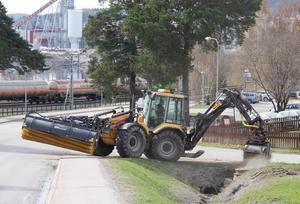 Flera gator i centrala Timrå sopades under måndagen.