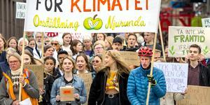 Manifestation i Sundsvall för miljön. Stöttar Gretas kamp för klimatet.
