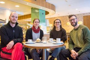 Gruppen Järvsö PopFolk , från vänster: Emil Westberg, Sara af Klintberg, Karin Westberg och  Olle af Klintberg.