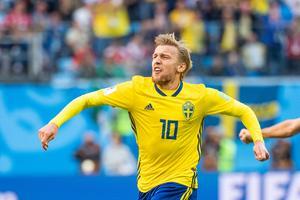 Emil Forsberg avgjorde och sköt Sverige till kvartsfinal i VM. Bild: Petter Arvidson/Bildbyrån.