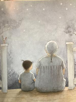 Mollan heter en av Lena Andersons huvudpersoner. Här sitter Mollan på trappen med sin mormor.