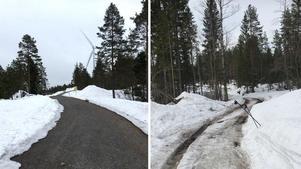 Hemab hänvisar till jämförelse med vägen till Vårdkassnurran, här till vänster. Till höger är den gamla Byvägen nedanför Spjutåsberget.