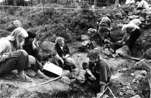 Utgrävningarna på Vågbroborgen 1993 under ledning av arkeolog Mats Mogren, nederst till höger. Foto: Sture Claesson