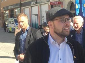 Sverigedemokraternas partiledare Jimmie Åkesson (SD) under ett möte i Södertälje.