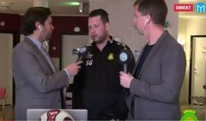 Sebastian Gustafsson intervjuas av Sportens Oskar Magnusson och Stefan Ericson under Dalafyrans uppesittarkväll i torsdags.