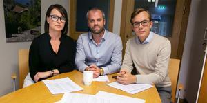 Ulrika Liljeberg (C), Tomas Bergsten (C) och Sebastian Larsson presenterade den styrande alliansens budget.