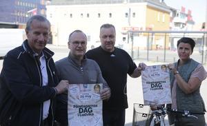Gösta Bergström, Patric Baier, Mattias Jansson och Veronica Lindgren i styrelsen för Företagarna Ludvika levererar småföretagens egen dag.