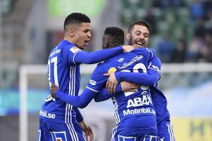 GIF Sundsvall jublar efter Maic Semas 1–0-mål mot Trelleborg.