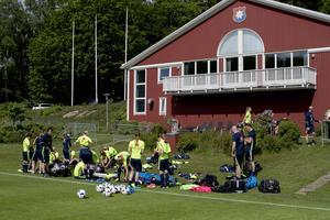 Landslaget samlat på Öis-gården i Göteborg inför EM-kvalmatcherna mot Polen och Moldavien.