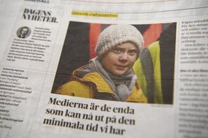 Greta Thunberg har efter sitt arbete med att få världen att inse allvaret med klimatförändringarna utsetts till en av världens mest inflytelserika ledare av den amerikanska tidskriften Times. Den 6 december tog hon Thunberg över chefredaktörskapet för Dagens Nyheter under en dag. Foto Henrik Montgomery/TT:
