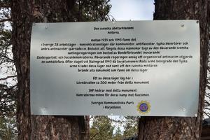 Minnesskylt vid Lövnäsvallen. Foto: Privat