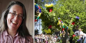 Lena Kristiansson, Sorunda hemslöjdsvänner, som tillsammans med Sorunda hembygdsförening arrangerar midsommarfirandet i prästgårdsparken i Sorunda.