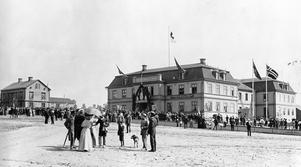 Nytorget, Östersund, vid förra sekelskiftet. Arkivbild
