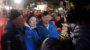 Per-Erik Kalla (längst till höger) fick ta del av dottern Charlottes framgångar i helgen. Bild: Jan Svensson (arkiv).
