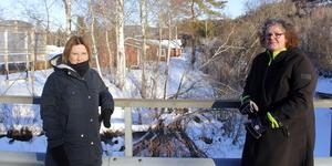 Marlene Lindström och Tina Tjärnberg Forslund på bron över Ljustorpsån där man ser hur vattnet dragit ner stora delar av marken vid åkanten.