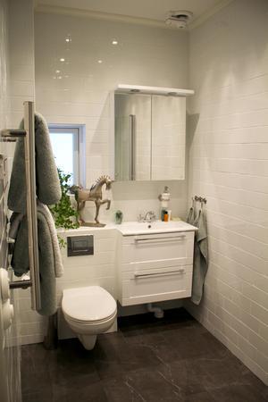 Toalett och dusch på markplan.