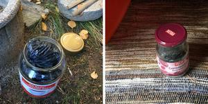 Narkotikan hittades undangömt i burkar på flera ställen vid fastigheten i Härjedalens kommun. Montage. Foto: Polisen.