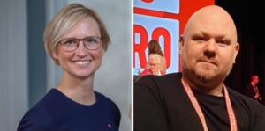Åsa Eriksson (S), riksdagsledamot från Norberg och Jimmy Fredriksson (S), facklig ledare i Norberg.