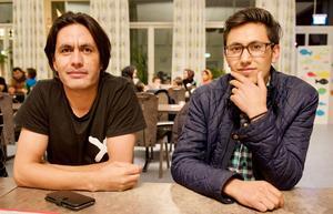 Khaled Ranjber och Latif Rahimi på språkkaféets julavslutning.