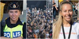 """""""Det känns som att folk har varit hänsynsfulla mot varandra och vi har inte haft några större incidenter."""" säger ansvariga polisassistenten Therese. På bild också en av arrangörerna till Södertäljefestivalen, Lena Raattamaa."""