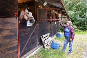 Kvarka på Färsta ridcenter. Birgitta Lindstrand vid de uteboxar som används som karantän för de importerade hästarna.