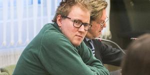 Johan Fallqvist i tingsrätten för viaduktmordet. Han dömdes i januari till livstids fängelse för mordet.