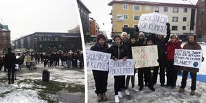 Flera hundra personen samlades på Stora torget i Örnsköldsviks under fredagens klimatmanifestation.
