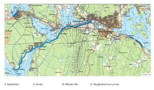 På kartan syns en av de i särklass längsta gång- och cykelstråken som i framtiden kan binda samman Morgårdshammar i Smedjebacken med Räfsnäs i Ludvika. Karta: Tekniska kontoret/Smedjebacken