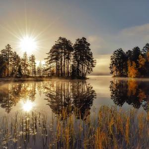 En vacker höstmorgon! Oresjön, Furudal.