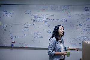 """Amy Loutfi uppskattar att hon använder drygt halva sin arbetstid åt att """"vara chef"""" för robotforskningen på universitetet. Övrig tid deltar hon i forskningsarbetet, bland annat genom att handleda studenter. Däremot hinner hon inte ägna sig åt att själv skriva program för robotar."""