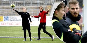 Simon Gustafsson i träning med ÖSK:s assisterande tränare Daniel Bäckström. Infälld: Jake McGuire.