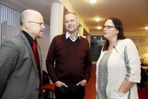 Jonas Sjöstedt (V) besökte Stig och Fagersta som nykläckt partiledare, januari 2012. Med på bild är dåvarande ordförande i kommunfullmäktige, Ann-Cristine Andersson.